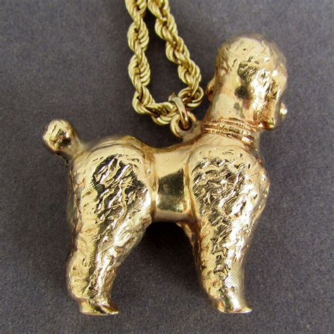 14k yellow gold necklace with poodle pendant 20 inch