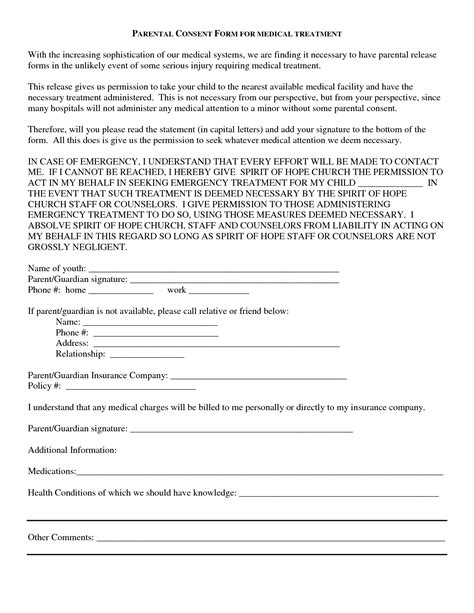 treatment consent form template best photos of treatment consent form template