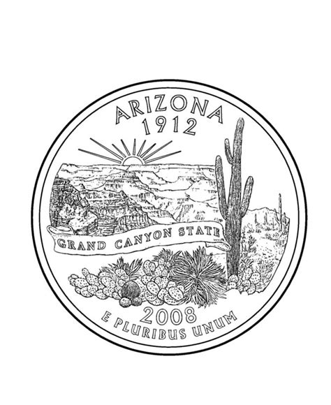 Coloring Page Quarter by Arizona State Quarter Coloring Page Coloring Pages
