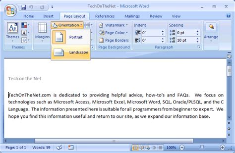 Landscape Layout In Word 2003 | ms word 2007 change the page orientation to landscape