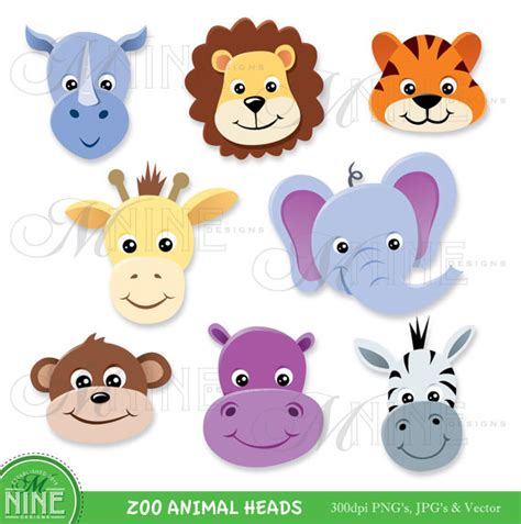 free printable zoo animal clipart animal clip art zoo animal heads clipart digital clip art