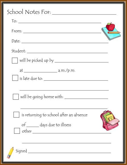 parent note to school template school note template missmernagh