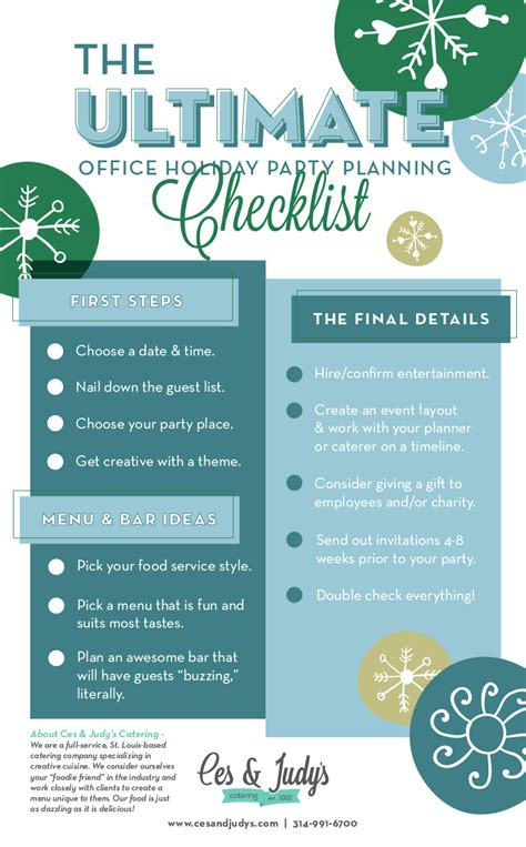 steps to planning office party office planning the ultimate checklist ces judy s catering