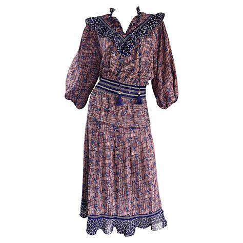 vintage pattern tassel dress vintage diane freis horsebit leaves printed bohemian