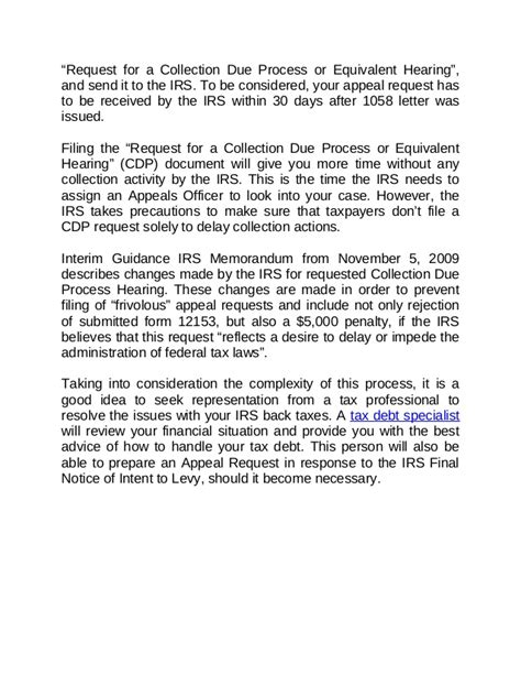 Interim Payment Request Letter Notice Of Intent To Levy