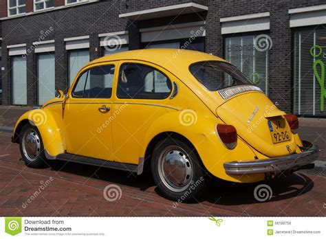 old volkswagen yellow yellow volkswagen kafer classic vw beetle editorial