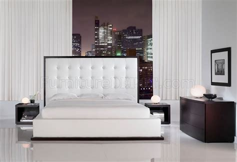 Ludlow White Leather Bedroom Set By Modloft White Leather Bedroom Furniture
