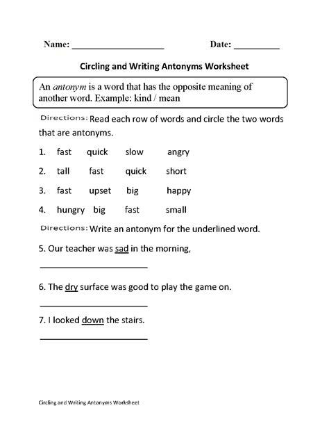theme synonym english antonyms worksheets for kindergarten teaching opposites