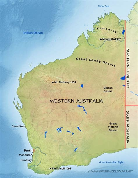 map of western australia physical map of western australia australia