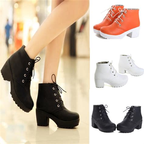 Boots Block Fashion Korea 959 s toe lace up chunky platform block heels oxford shoes ankle boots