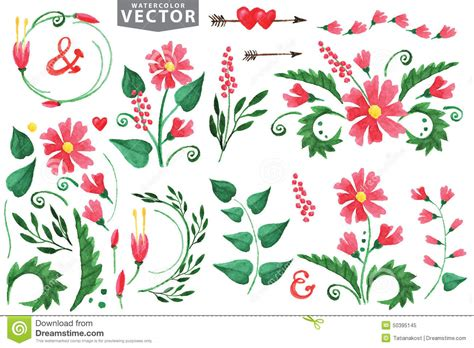design elements flowers watercolor red flowers branshes floral elements stock