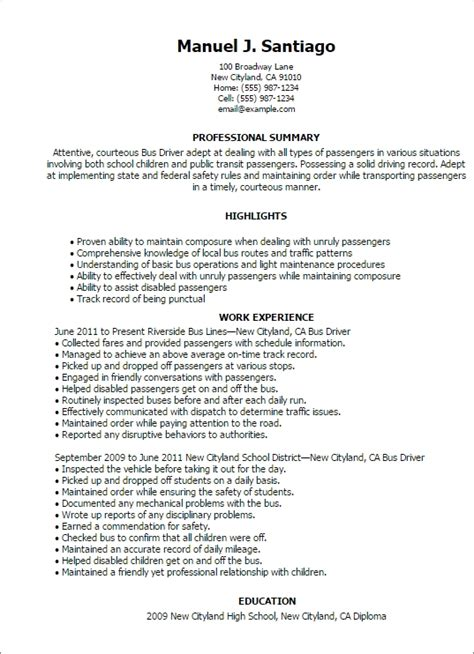 Bus Driver Resume Sle Best Professional Resumes Letters Templates For Free School Driver Resume Template