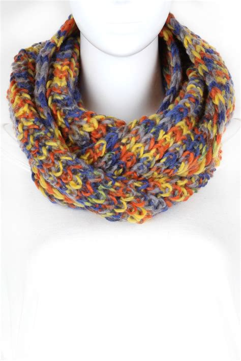Multi Scarf knitted multi color infinity scarf scarves