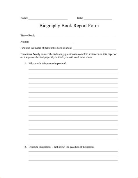 biography book report form free ideas collection book report template cool free printable