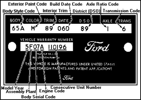 1965 mustang data plate decoder 1965 1973 data plate decoder shnack