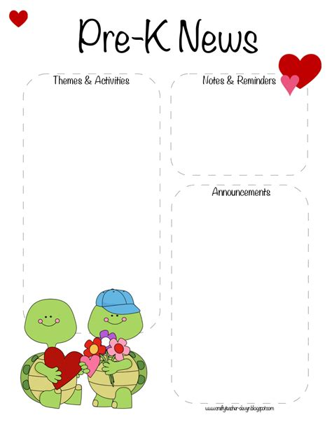 free pre k newsletter templates the crafty january 2013