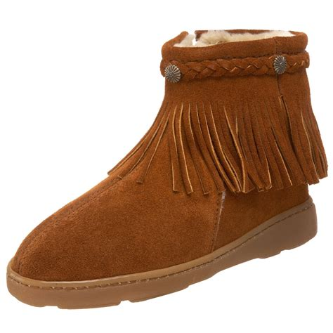 ankle boots with fringe minnetonka minnetonka womens fringe ankle boot in brown lyst