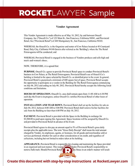 vendor agreement template contract vendor contract template create a vendor agreement with