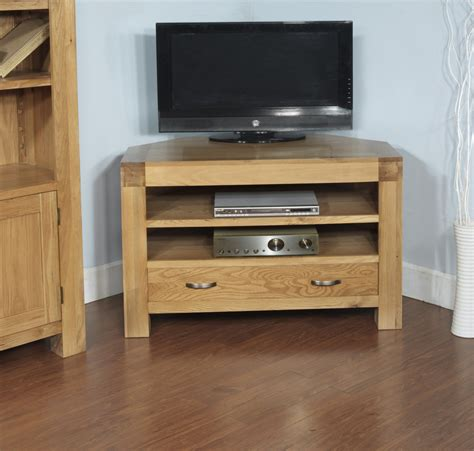 contemporary corner tv cabinets rivermead solid oak modern furniture widescreen corner tv