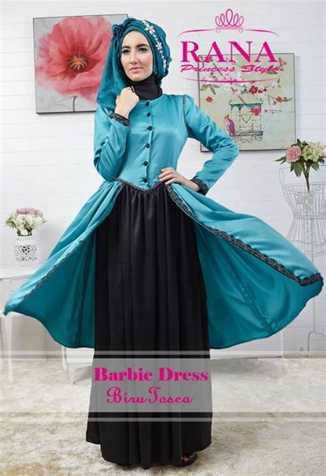 Gamis Muslim Syari Haiwa Aiwa Hijau baju pesta muslim rana dress biru tosca pusat