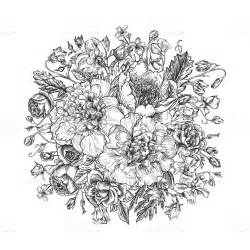 black and white drawing of summer flowers in a bouquet