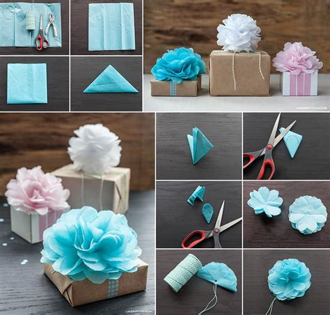 How To Make Small Tissue Paper Pom Poms - diy mini tissue paper pom pom flower gift toppers