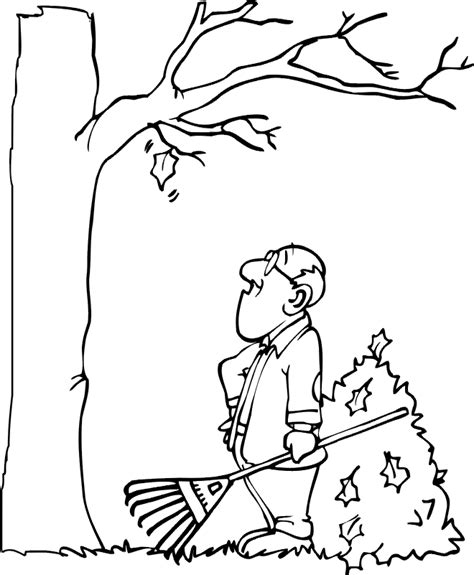 coloring pages of raking leaves autumn leaves coloring page last leaf needs to fall