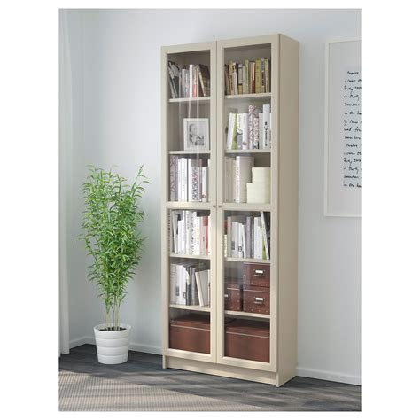 billy bookcase with doors beige 80x30x202 cm ikea