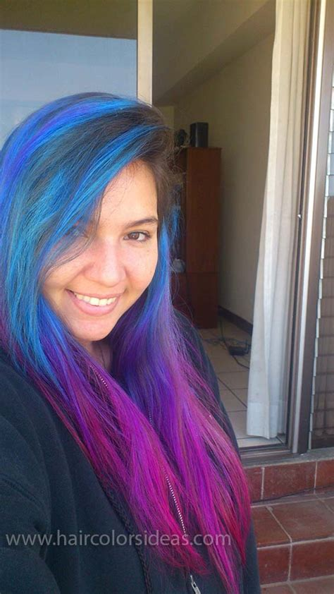 blue to pink gradient hair colors ideas