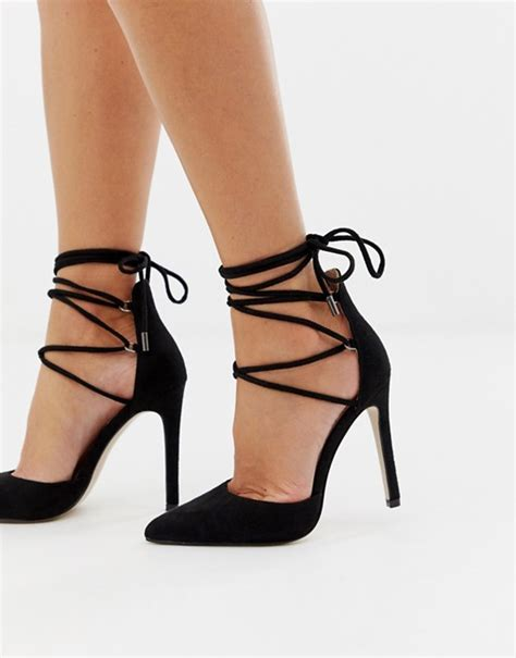 chausures a talons desire chaussures 224 talons chic avec liens 224 nouer noir asos