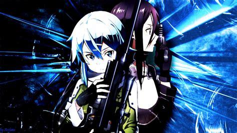 wallpaper anime sao sword art online ggo sinon kirito wallpaper by arehina
