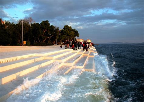 sea organ croatia these stairs by the sea in croatia produce hauntingly