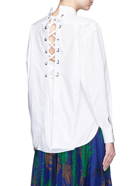 lace up back shirt sacai lace up back cotton poplin shirt in white lyst