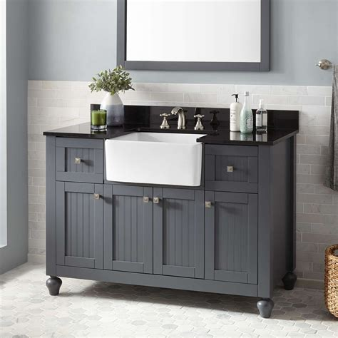 nellie farmhouse sink vanity dark gray bathroom