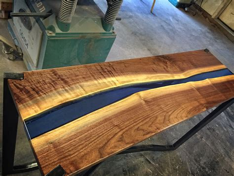 custom sofa table handmade black walnut blue resin sofa table by higgins