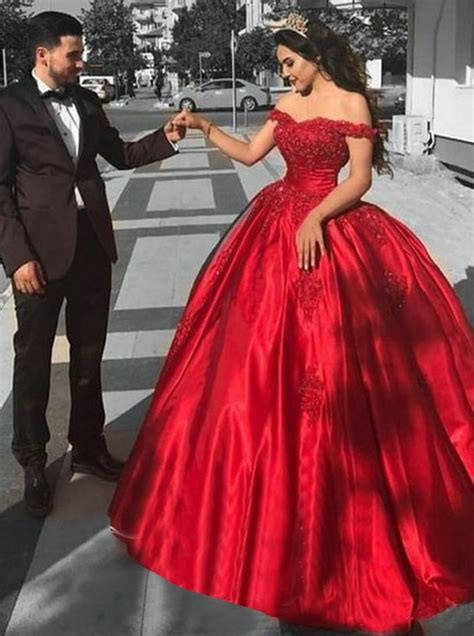 design your quinceanera dress game ball gown off the shoulder red satin quinceanera dress