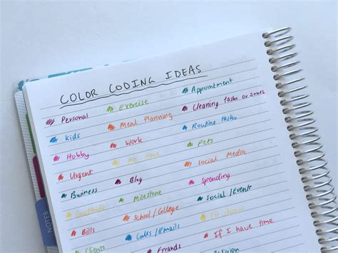 color coding planner 50 category ideas for color coding your planner all