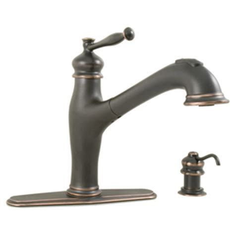 aquasource kitchen faucets shop aquasource rubbed bronze 1 handle pull out