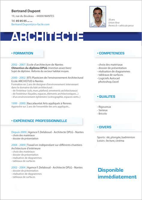 Création De Cv by Exle Resume Exemple Cv Etudiant Architecture