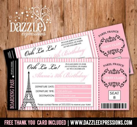 free printable thank you cards in french printable paris boarding pass birthday invitation paris