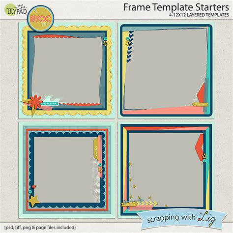 Digital Scrapbook Template Frame Starters Scrapping With Liz Digital Scrapbooking Templates