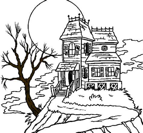 imagenes de halloween sin color dibujo de casa encantada para colorear