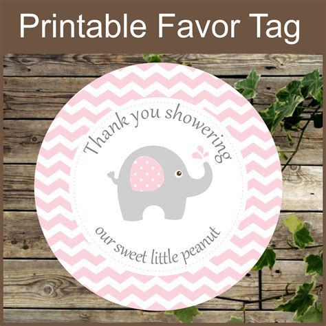 printable elephant gift tags printable favor tags pink elephant baby shower favor by