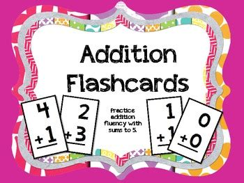 flash card maker addition addition flashcards sums to 5 by teacher laura tpt