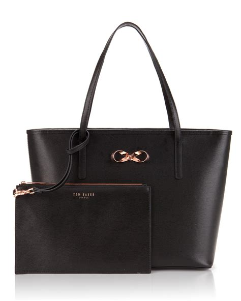 Ted Baker Shopper Bag With Bow by Ted Baker Bonnita Bow Detail Leather Shopper Bag In Black