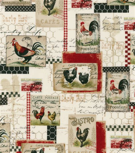 Rooster Fabrics Quilt by Novelty Quilt Fabric Vintage Rooster Farm At Joann