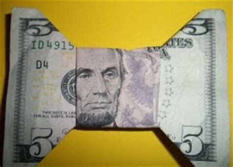 Money Origami Bow Tie - craft for you folding money into shapes