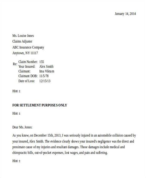 settlement demand letter template demand letter exles