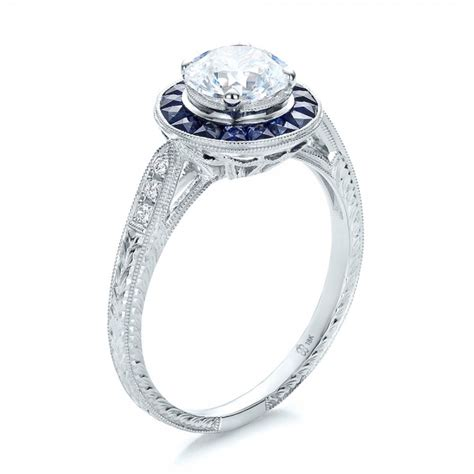 deco style engagement ring deco style blue sapphire halo and engagement 100385 bellevue seattle joseph jewelry