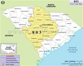 803 area code map where is 803 area code in south carolina